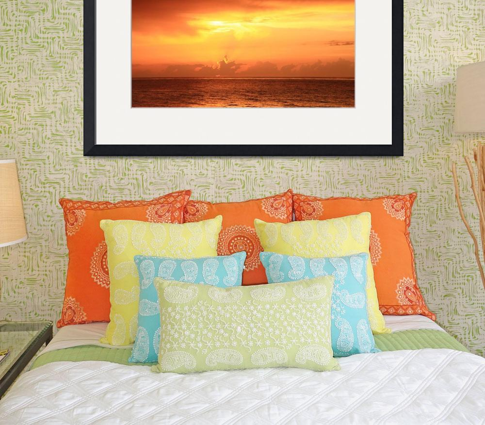 """""""Red Dawn Sky over the Caribbean Sea&quot  (2015) by RoupenBaker"""