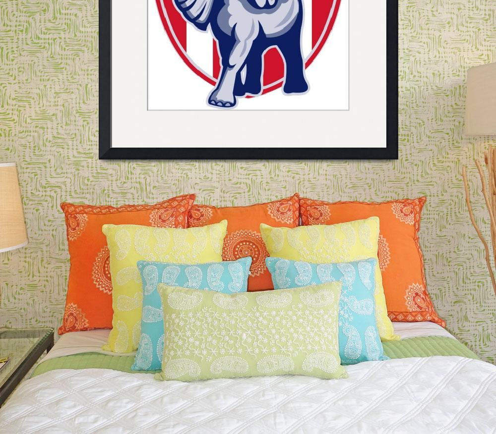 """Republican Elephant Mascot USA Flag&quot  (2013) by patrimonio"