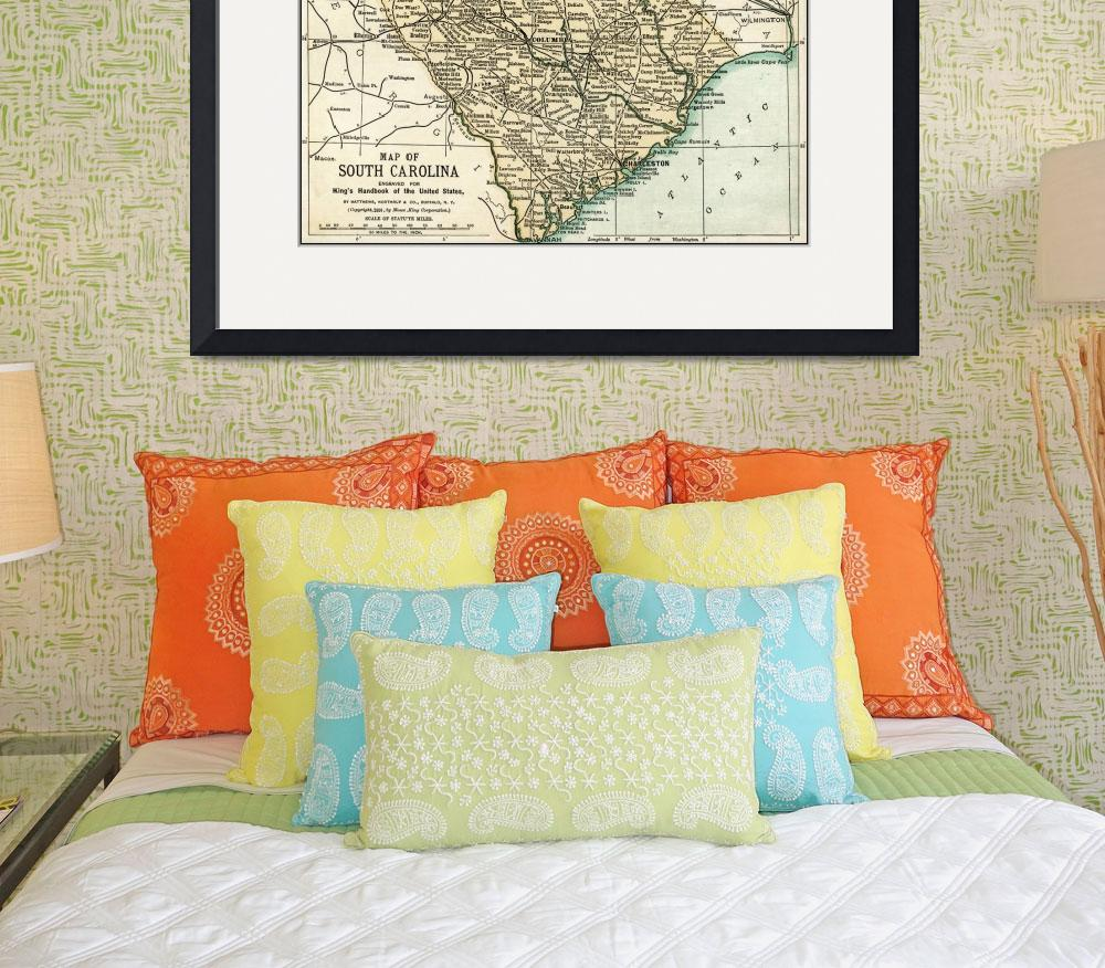 """""""South Carolina Antique Map 1891&quot  (2016) by WilshireImages"""