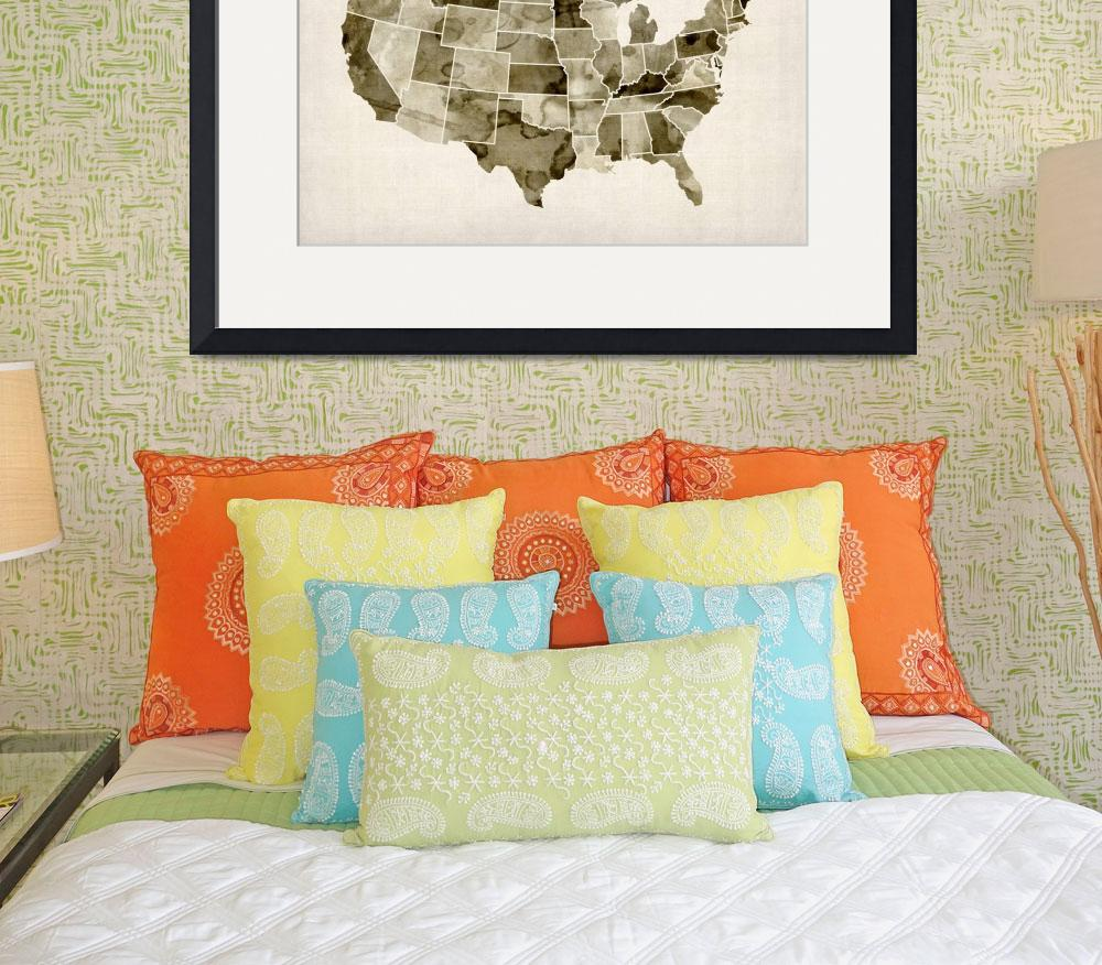 """""""United States Watercolor Map&quot  (2013) by ModernArtPrints"""