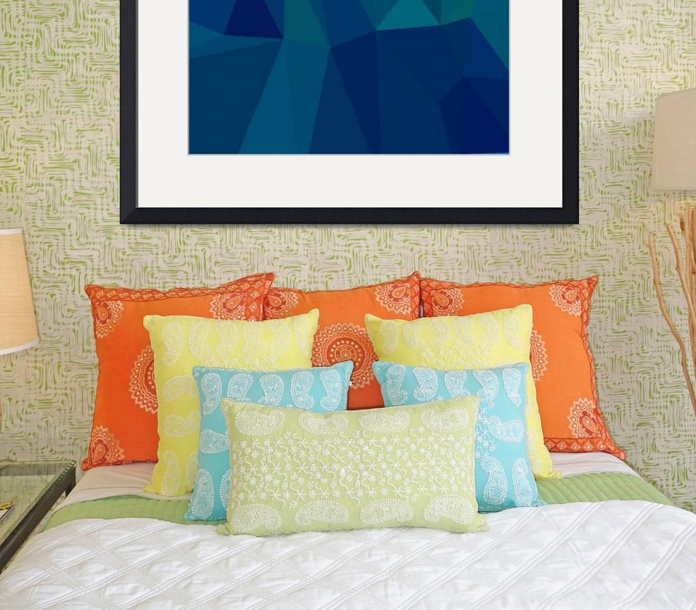 """""""Medium Teal Blue Abstract Low Polygon Background&quot  (2015) by patrimonio"""