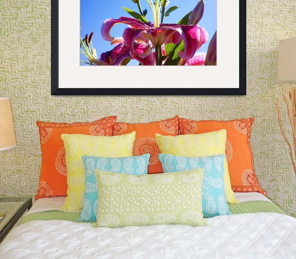 """Lilies Flowers Art Prints Floral Blue Sky Garden&quot  (2014) by BasleeTroutman"