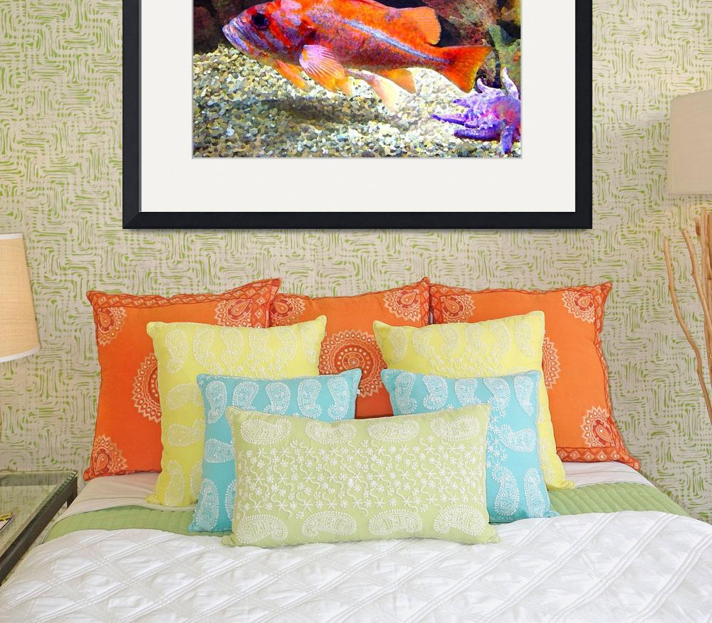 """Orange Purple Fish&quot  (2009) by AmyVangsgard"