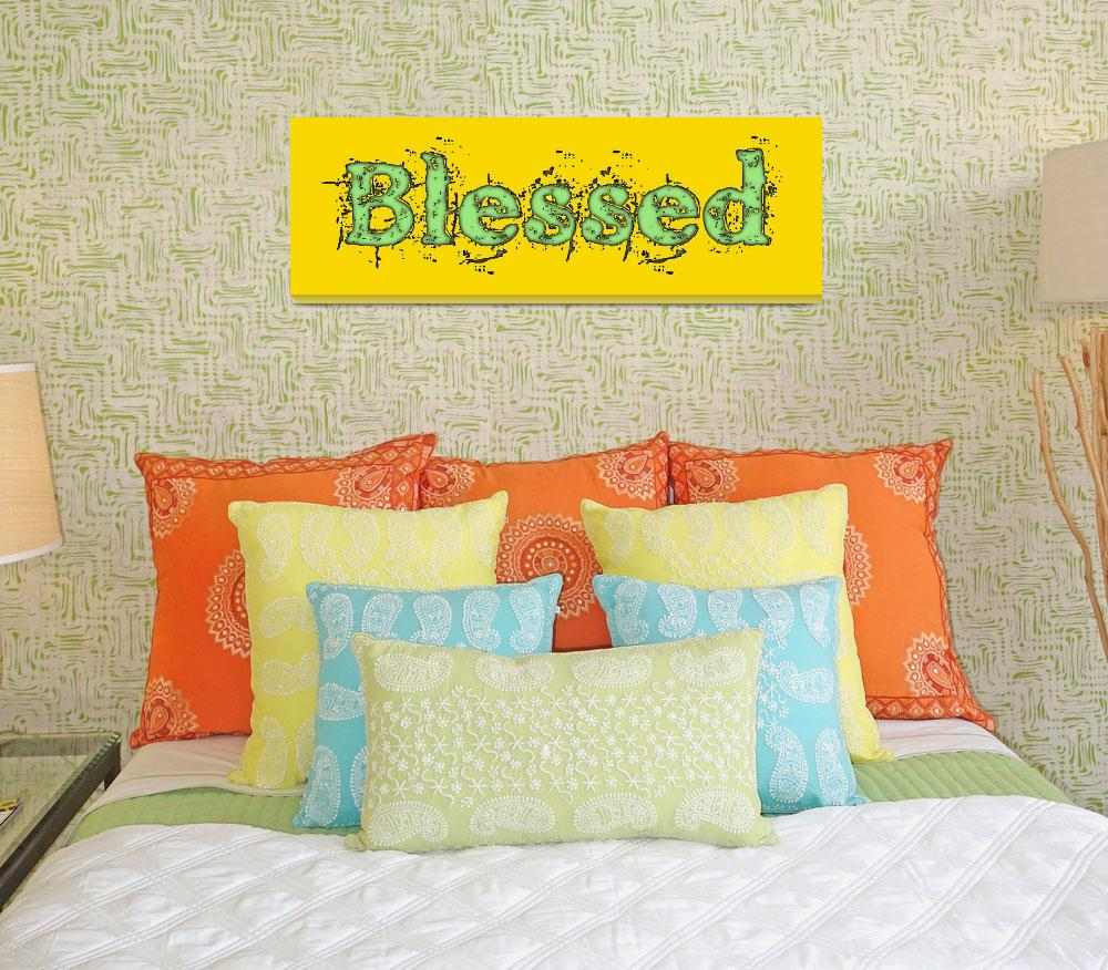 """""""blessed old print green on yellow&quot  by lizmix"""