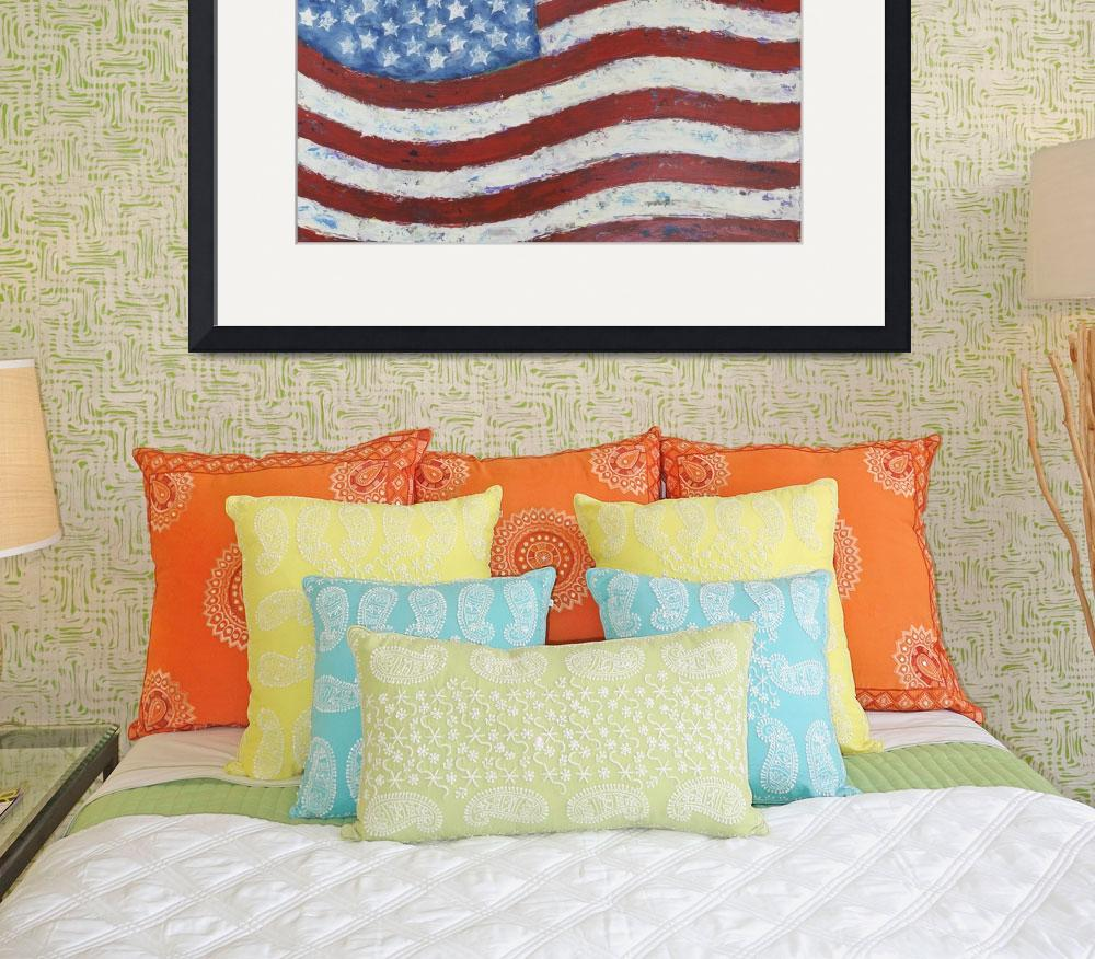 """""""Abstract American Flag&quot  by waynecantrell"""