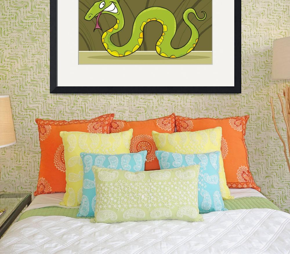 """""""green snake&quot  (2011) by cartoonfactory"""