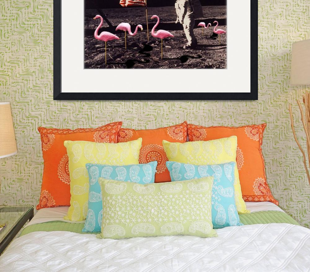 """""""Neil Armstrong And Flamingos on The Moon""""  (2014) by RubinoFineArt"""