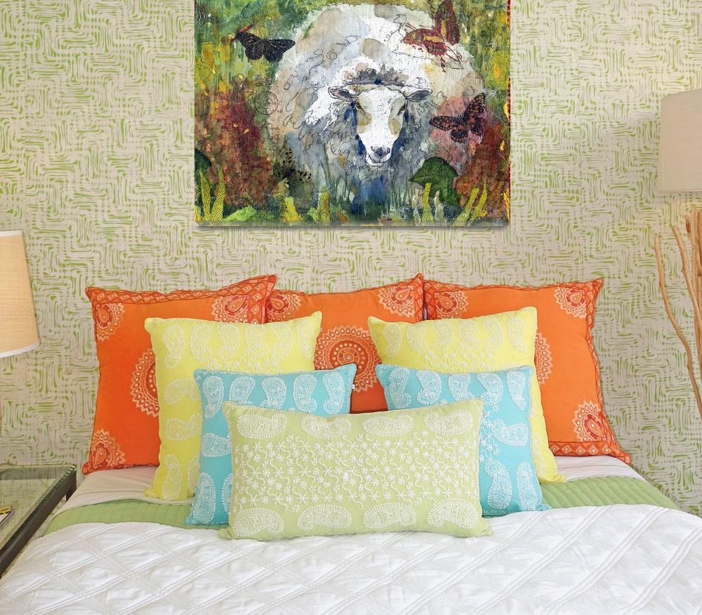"""""""Peaceful Pasture, Sheep Print""""  (2012) by schulmanart"""