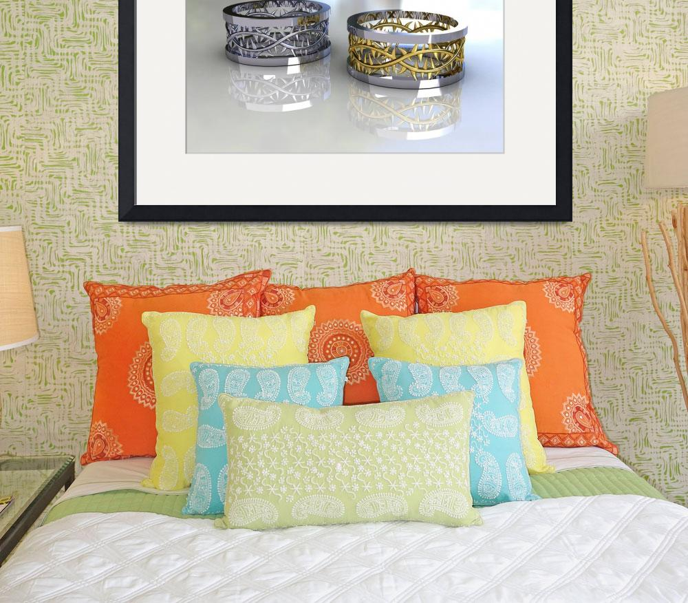 """""""Pair of White and Two Tone Gold Wedding Bands - 3D&quot  (2011) by Modern-Impressionism"""