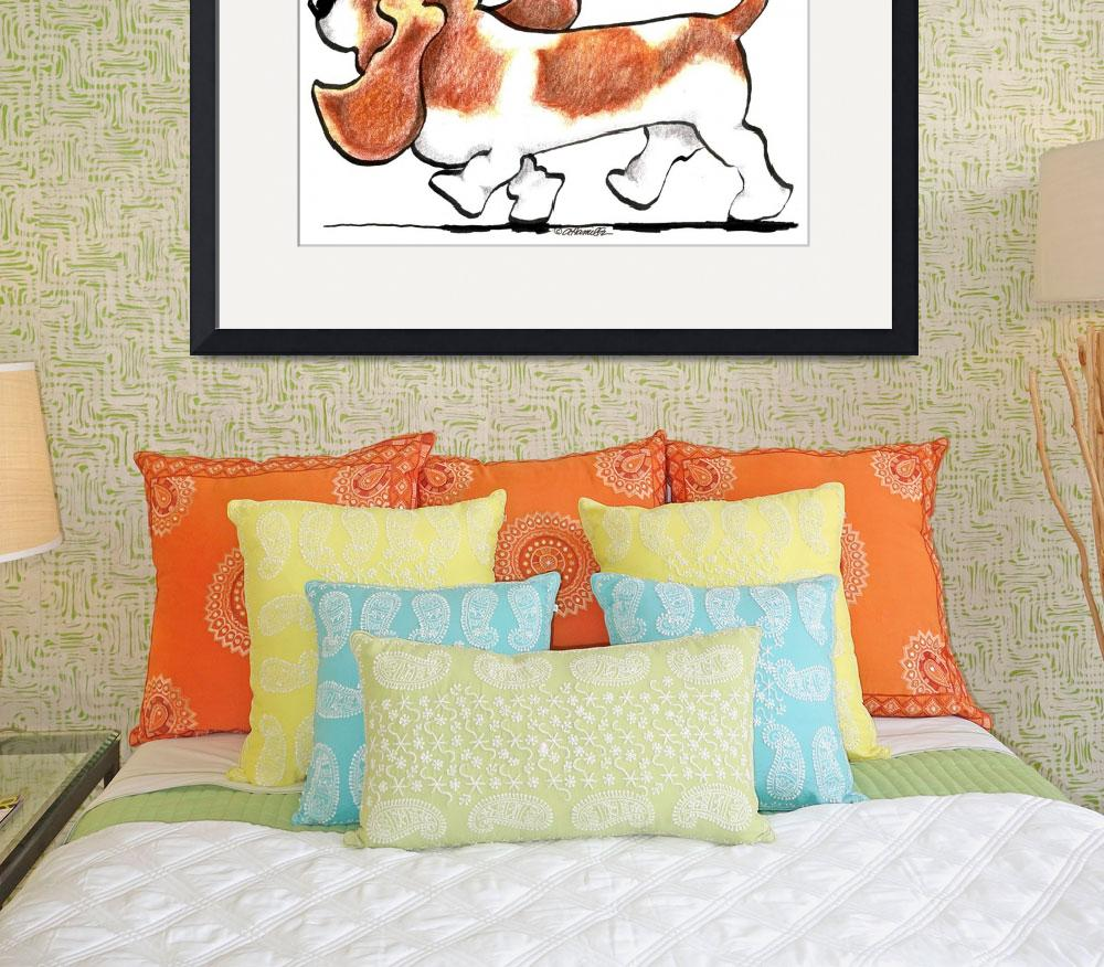 """""""Busy Basset Hound&quot  (2010) by OffLeashArt"""