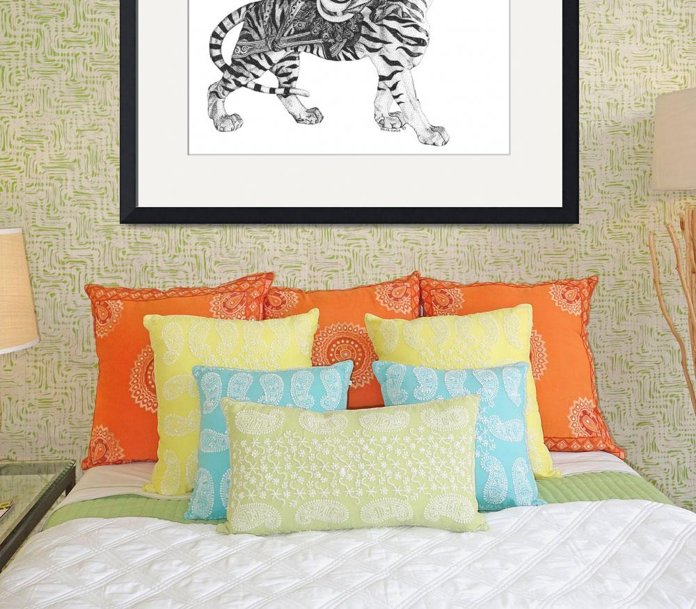 """""""Stipple Pen and Ink Carousel Tiger&quot  (1993) by DulceDiane"""