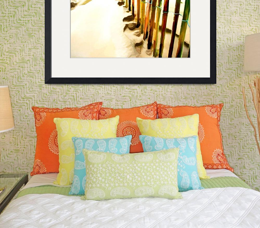 """Abstract March of the Colored Picket Fence&quot  by ElainePlesser"