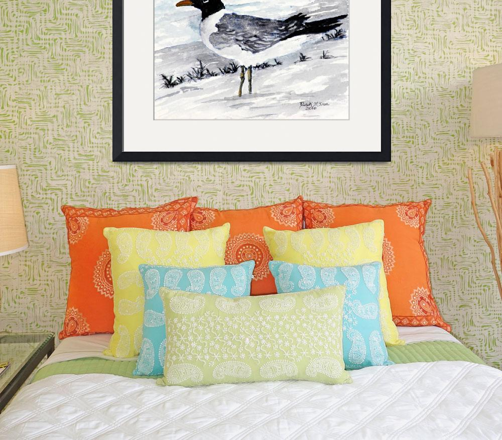 """sea gull painting square art print&quot  (2010) by derekmccrea"
