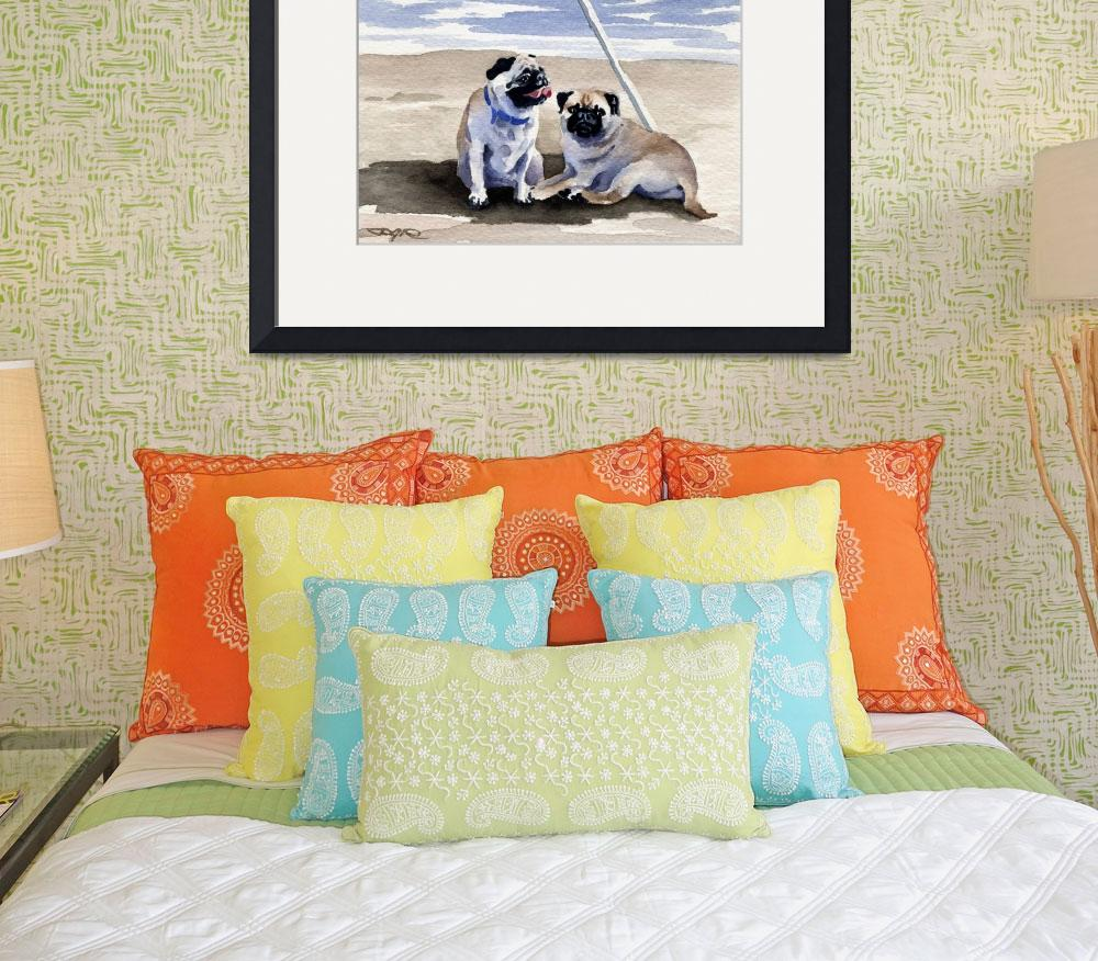 """""""Pugs on the Beach&quot  (2015) by k9artgallery"""