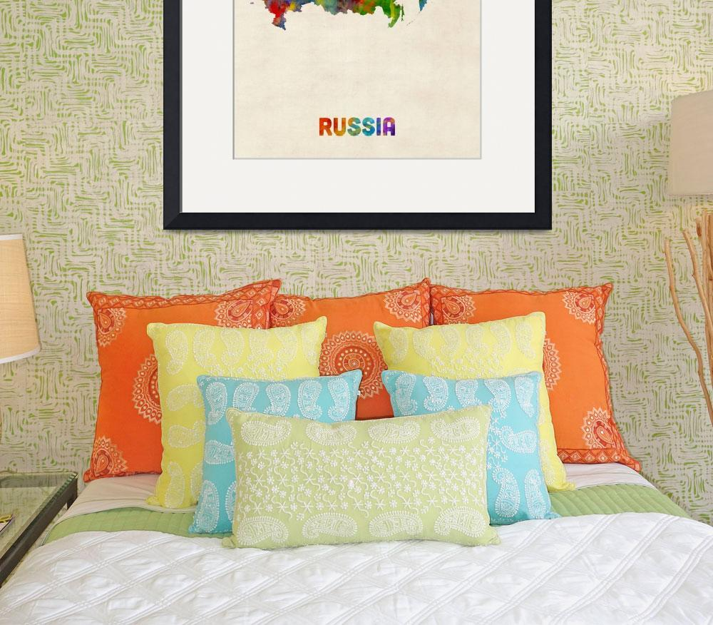 """Russia Watercolor Map&quot  (2016) by ModernArtPrints"