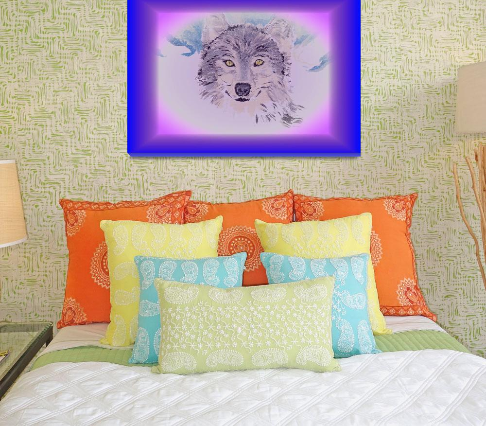 """""""The beautiful wolf with blue frame""""  (2012) by kaylee123"""