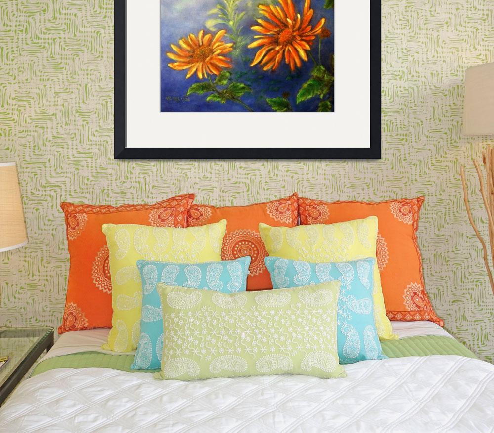 """""""Impressionist Orange Daisies in Blue Background&quot  (2002) by Lenora"""