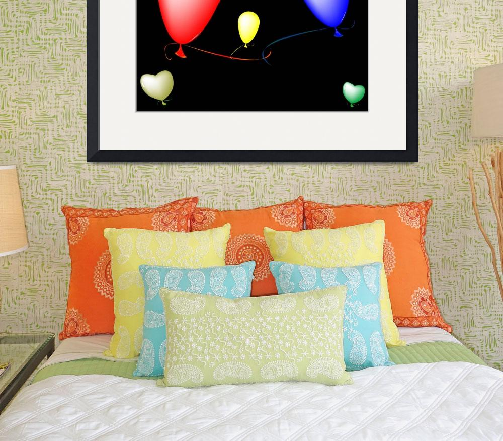 """colored ballons composition over black background""  by robertosch"