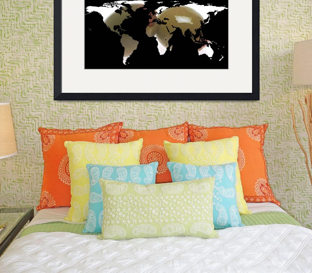 """""""World Map Silhouette - Martini Olives&quot  by Alleycatshirts"""