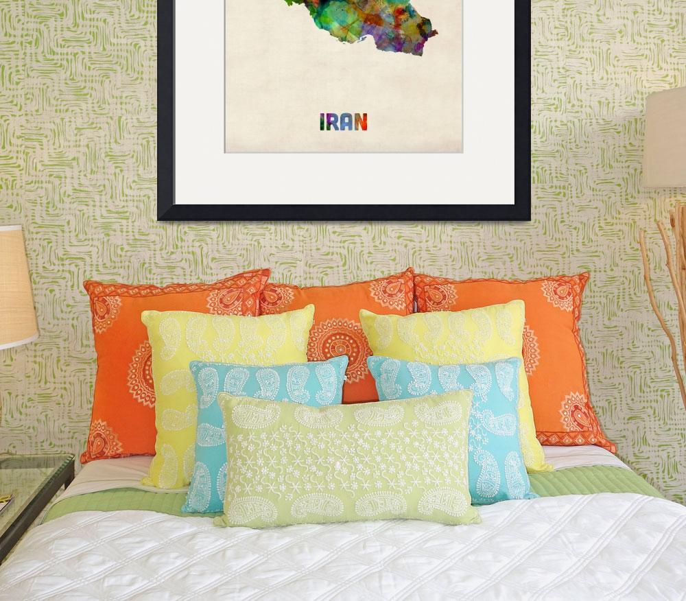 """Iran Watercolor Map&quot  (2013) by ModernArtPrints"