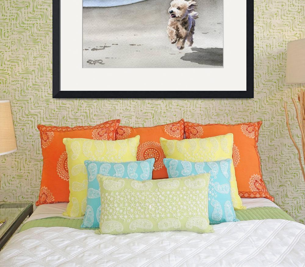 """""""Apricot Poodle at the Beach&quot  (2015) by k9artgallery"""