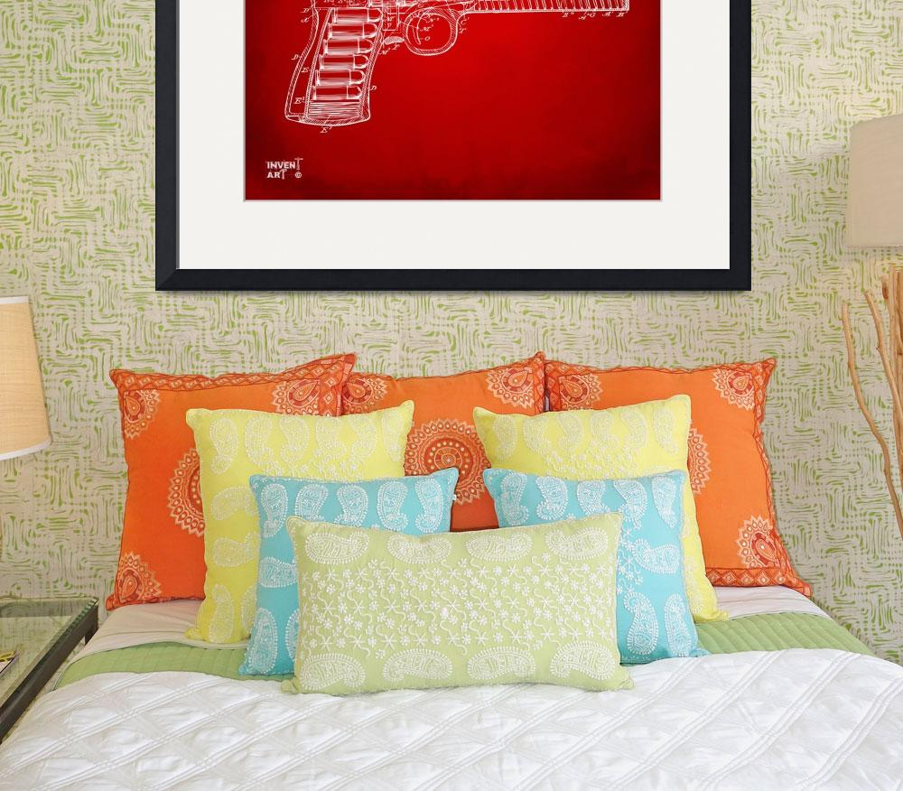 """""""1903 Mcclean Pistol Patent Minimal Red&quot  by nikkismith"""