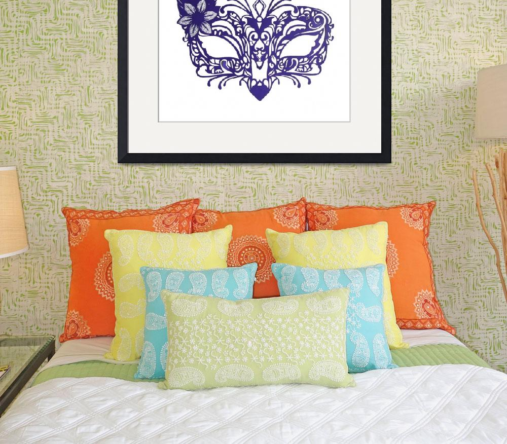"""Square Venetian Mask Print&quot  (2014) by StudioCharley"