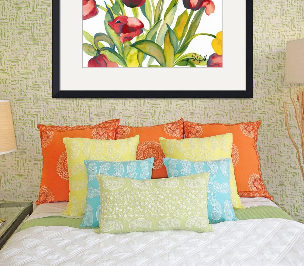 """Red & Yellow Tulips&quot  by janporterfieldwatercolors"