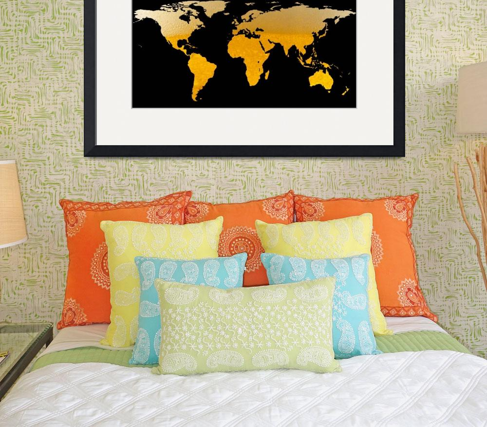 """World Map Silhouette - Beer&quot  by Alleycatshirts"