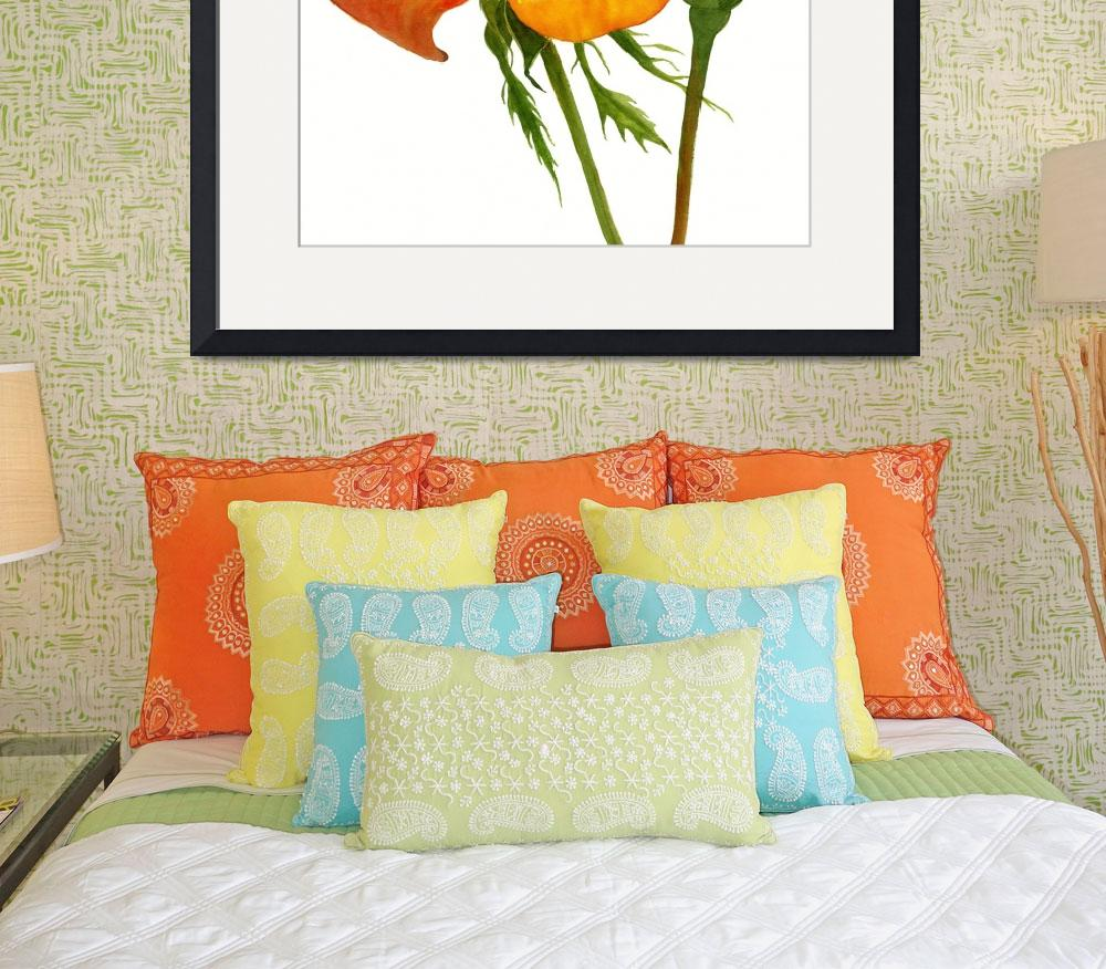 """""""Yellow Orange Rose square design&quot  (2017) by Pacific-NW-Watercolors"""