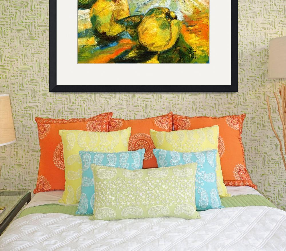 """""""Quince and PEAR Unusual Still Life Oil Painting by&quot  by GinetteCallaway"""