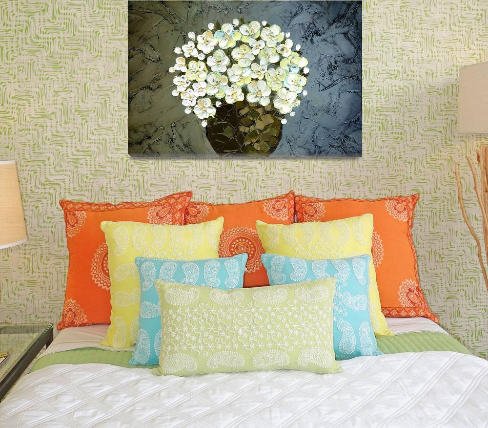 """""""White Flowers&quot  (2009) by modernhouseart"""