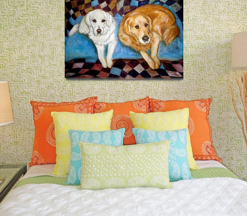 """""""Golden Retrievers Painting Dog Friends""""  by francesbyrne"""