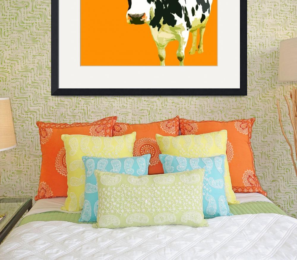 """Cow in Yellow World&quot  (2010) by whitewallgallery"