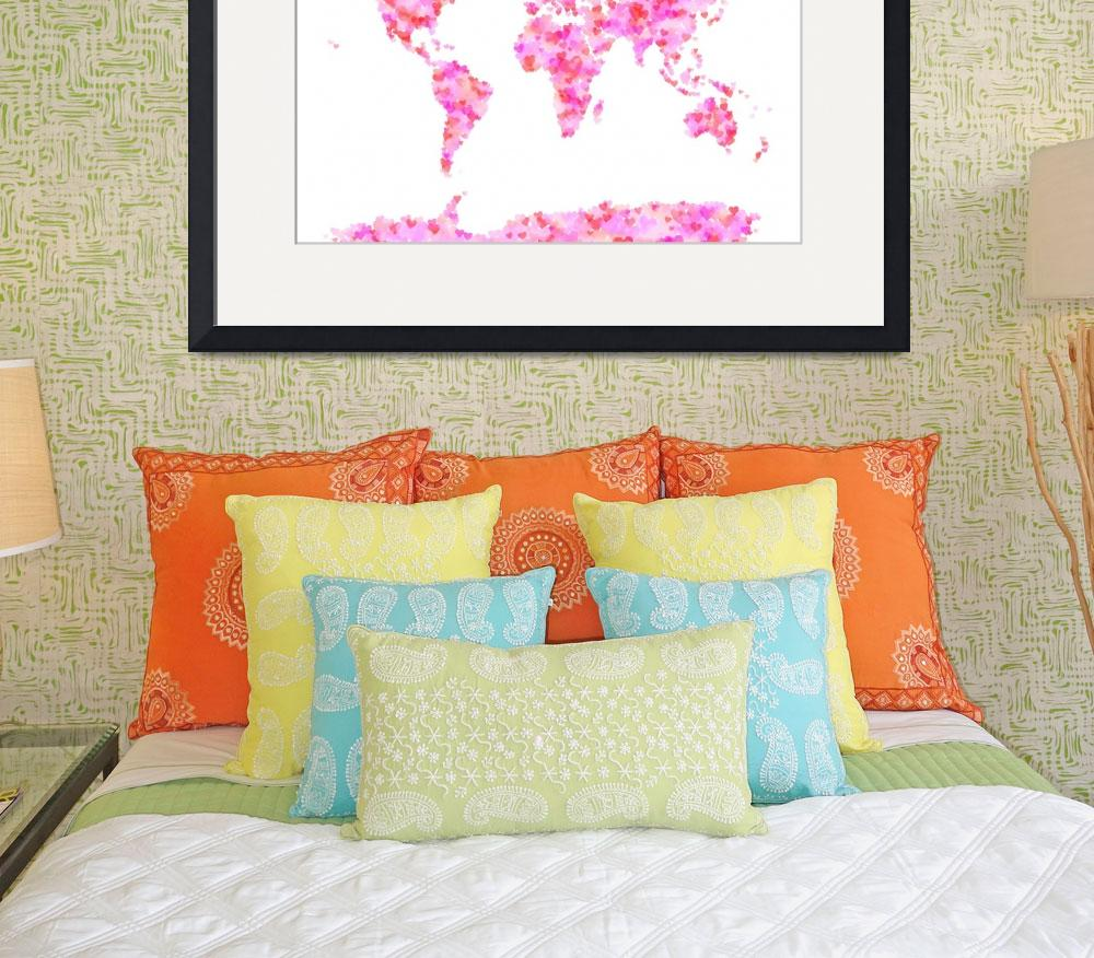 """""""Love Hearts Map of the World Map&quot  (2011) by ModernArtPrints"""