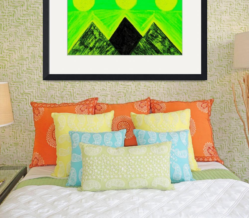 """""""Pyramids Of Other Worlds In Green and Yellow&quot  by Atlantis-Seeker-Art"""