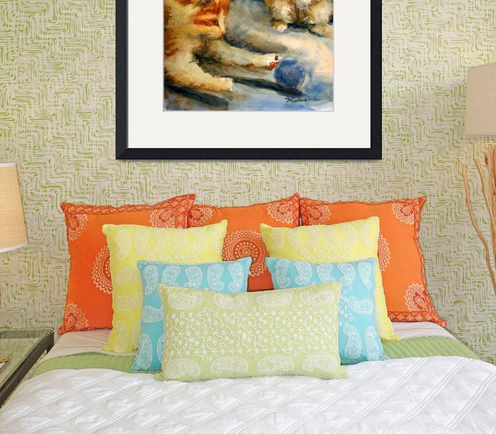 """""""Kittens Playing, Watercolor Painting of Orange Tab&quot  (2006) by schulmanart"""