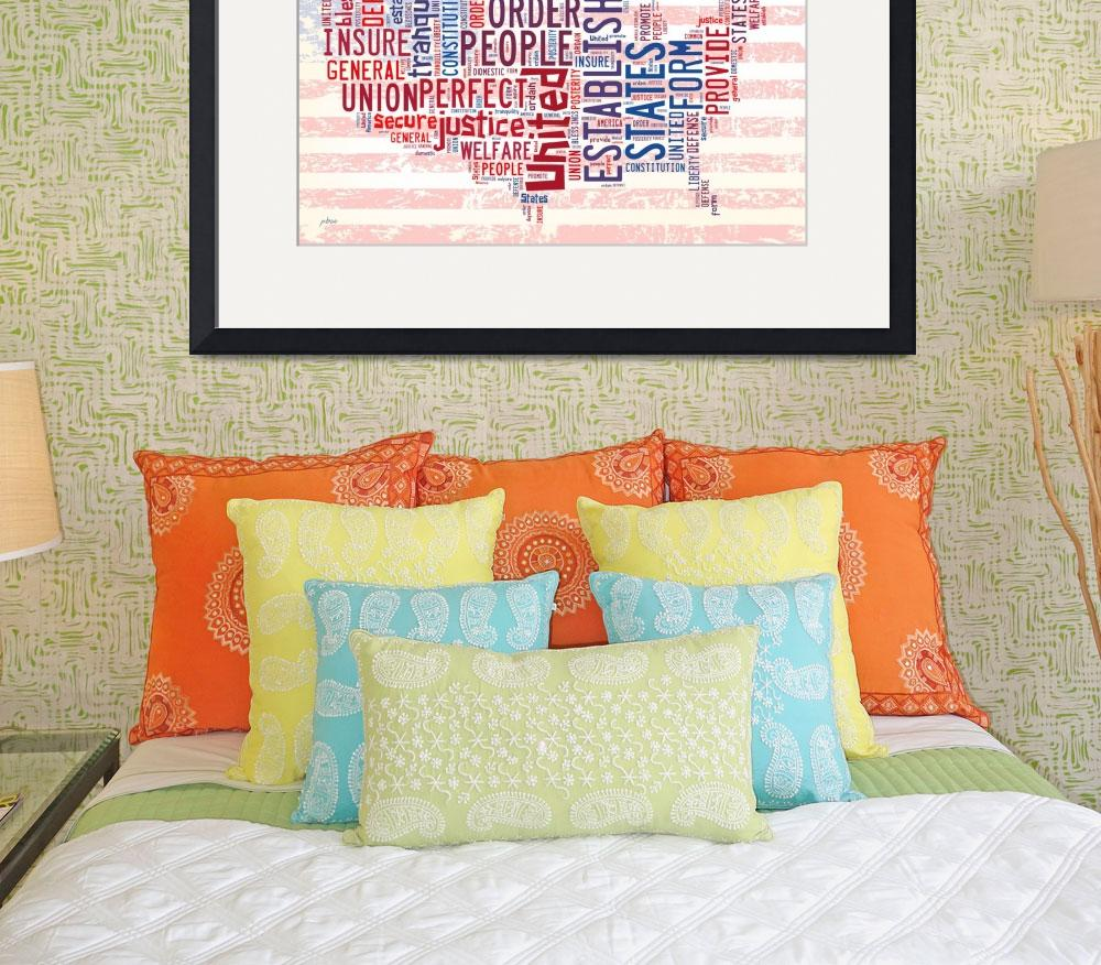 """""""US Word Cloud Map - Preamble&quot  by WrightFineArt"""