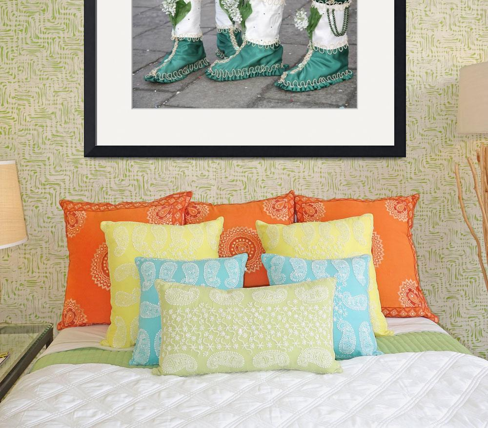 """""""Green and White Boots&quot  (2009) by DonnaCorless"""