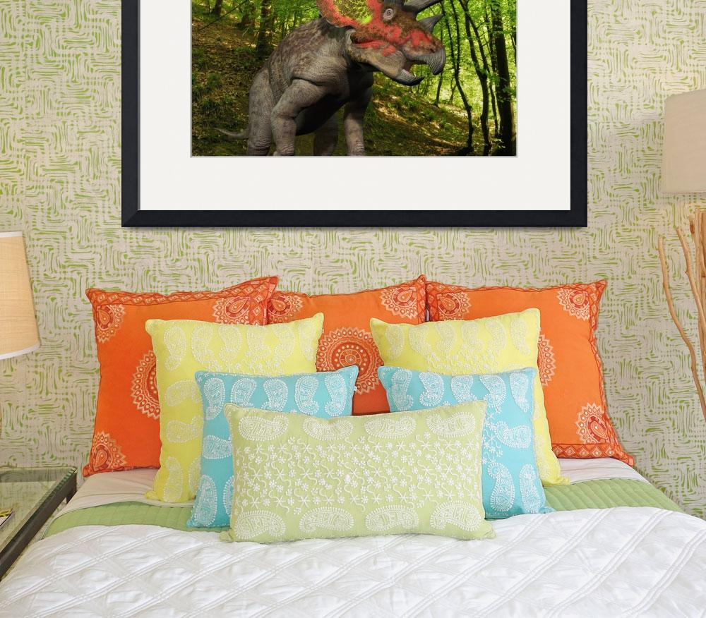 """""""A colorful Triceratops wanders a Cretaceous forest&quot  by stocktrekimages"""