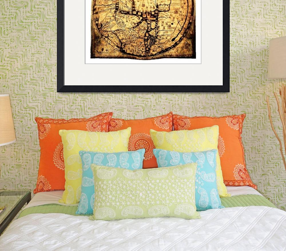 """Hereford Mappa Mundi Small White Border&quot  (2014) by TheNorthernTerritory"