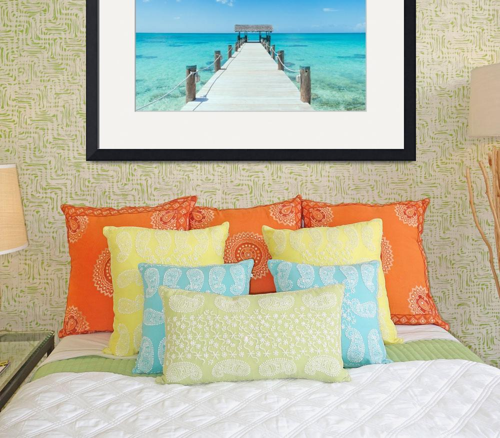 """Island Pier On Perfect Tropical Beach With Blue Wa""  by SHOPPINGUSA"