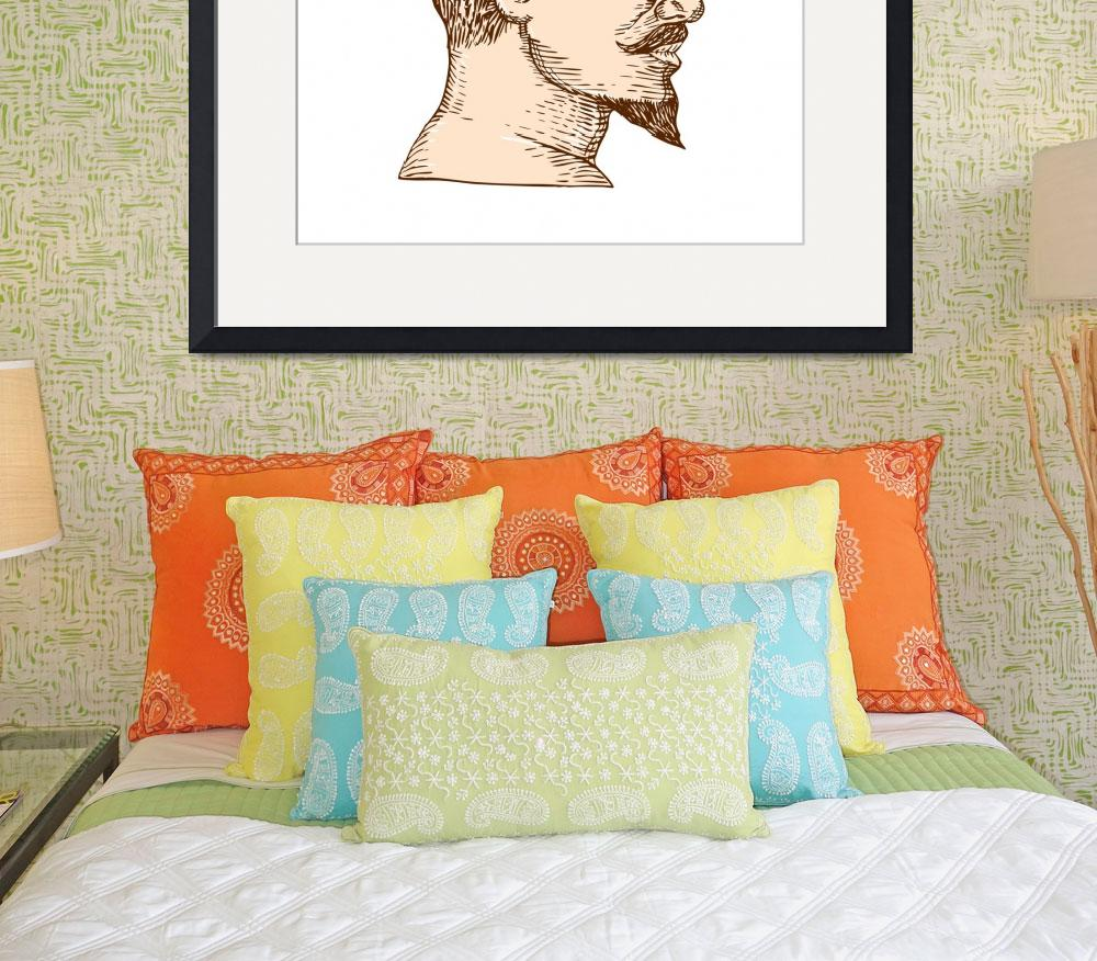 """Male Goatee Side View Etching&quot  (2015) by patrimonio"