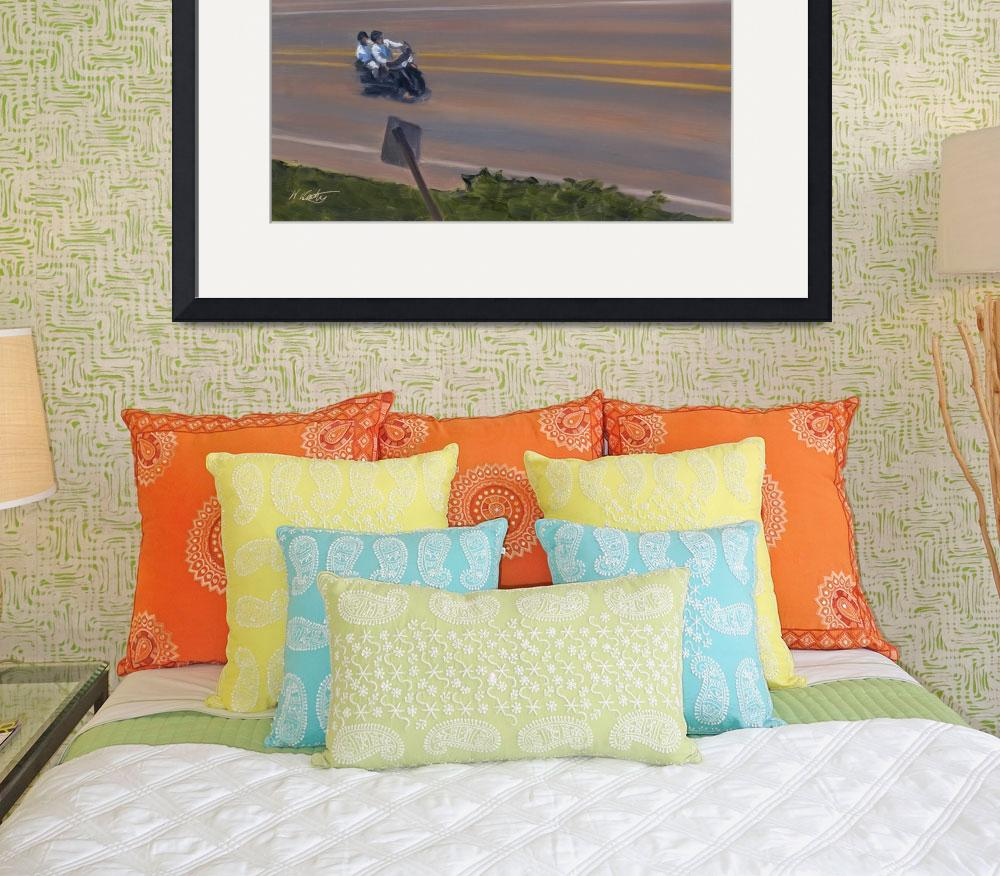 """California Beach Motorcycle Cruising PCH&quot  (2007) by KeatingArt"