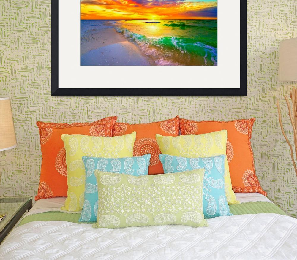 """ocean wave sunset orange beach sunset canvas&quot  (2014) by eszra"