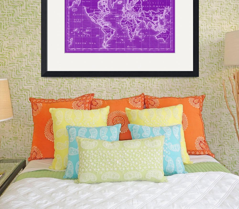 """World Map (1766) Purple & White&quot  by Alleycatshirts"