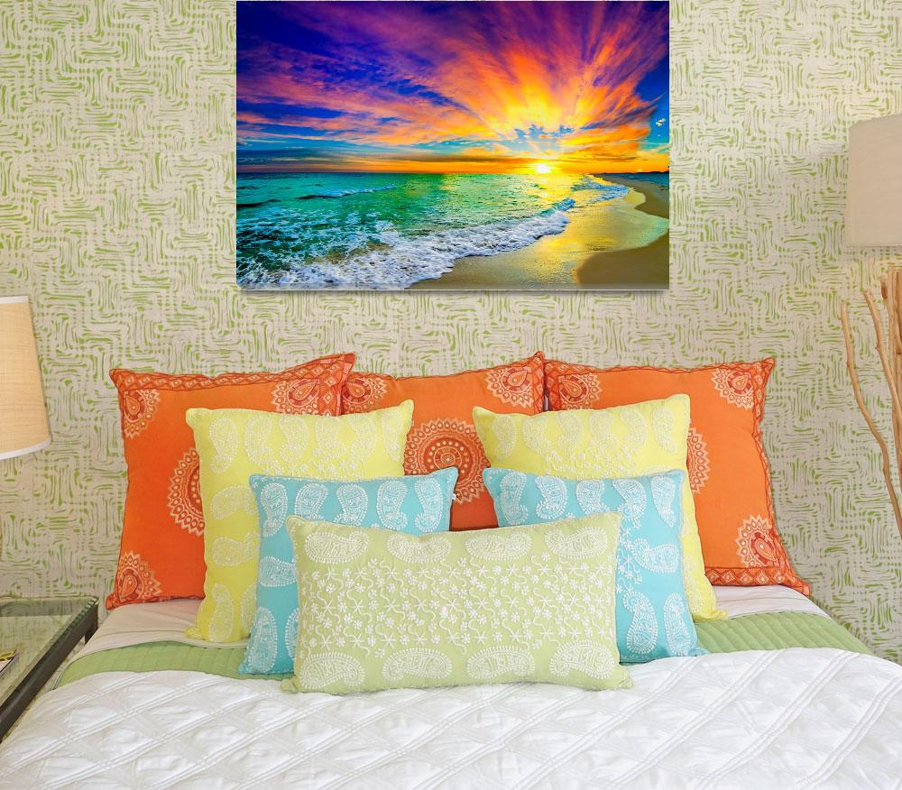 """colorful ocean sunset orange and red beach sunset""  (2014) by eszra"