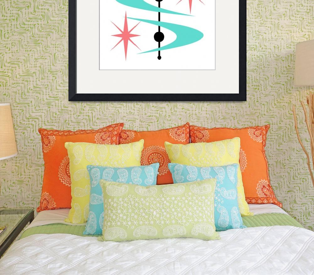 """""""Boomerang Starbursts Aqua and Pink&quot  by DMibus"""