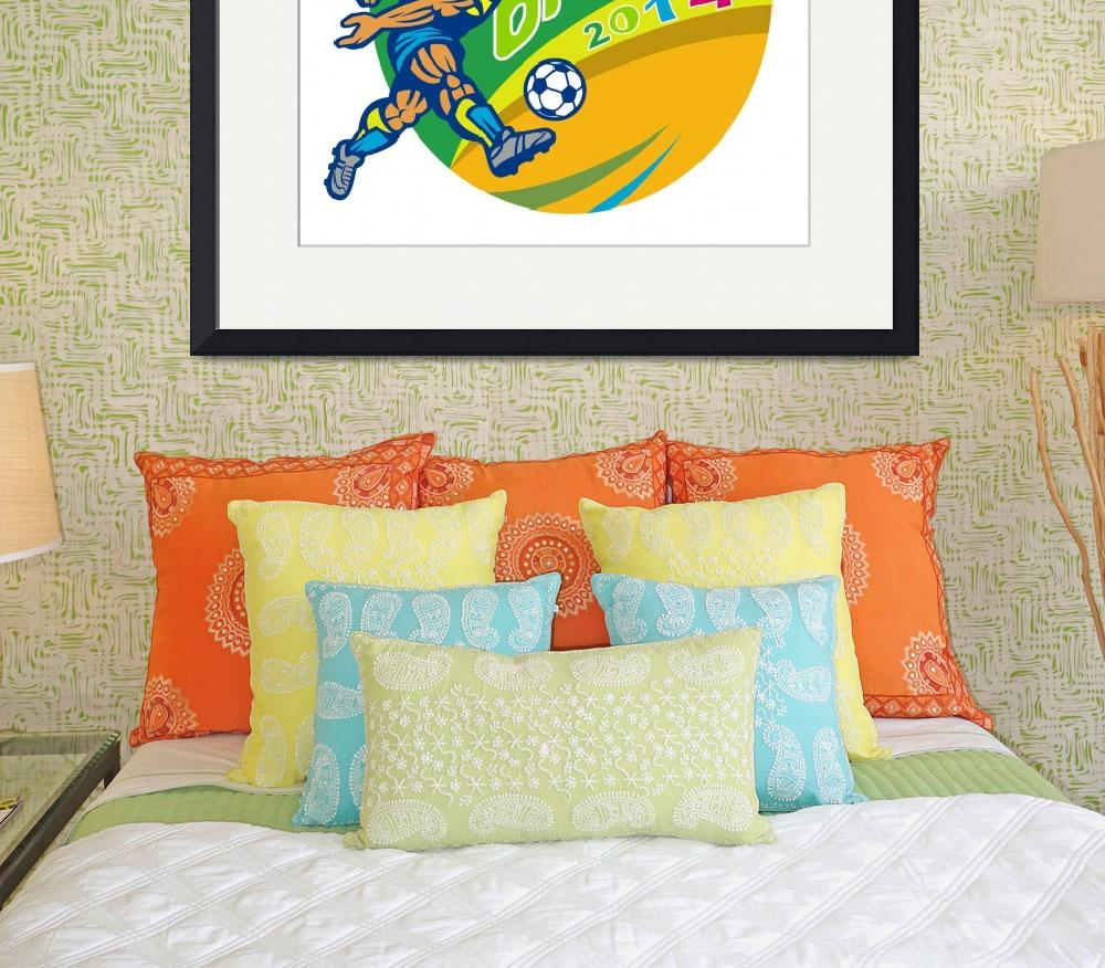 """Brasil 2014 Football Player Kicking Retro""  (2014) by patrimonio"