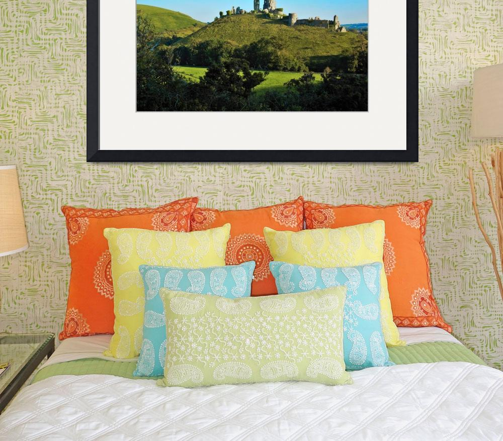 """""""Corfe Castle in the late summer""""  (2015) by ArtByMikeW"""